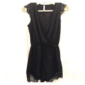 NWOT Orange Creek Black lace romper size S